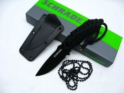 Schrade SCHF46 Tactical Black Straight Full Tang Paracord Neck Knife + Sheath