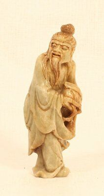Chinese Buddhist carved Soapstone-Steatite figure of a Sage