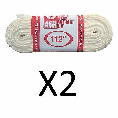 """A&R Ice Figure Skate Laces Heavy Duty Laces 63"""" 120 Inches White 112"""" (2-Pack)"""