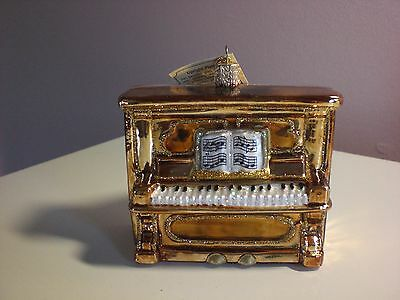 "Old World Christmas Gold ""Upright Piano"" Glass Ornament"