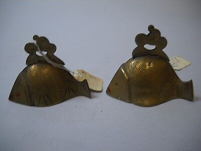 SET OF 2 Brass BELLS in the Shape of FISH with RED EYES from CHINA Man on TOP