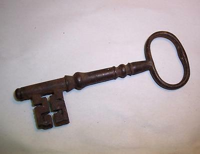 "Antique GEORGIAN CAST IRON Lock KEY Original - Door/Church/Gaol/Jail 4.25"" Long"