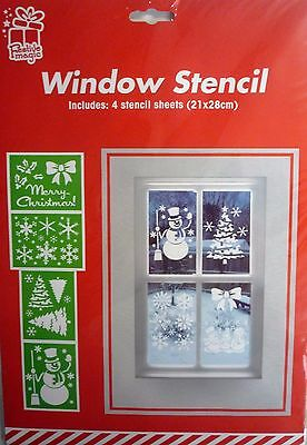 Pack of 4 Reusable Christmas Window Stencils - Festive Decoration. Tree Snowmen
