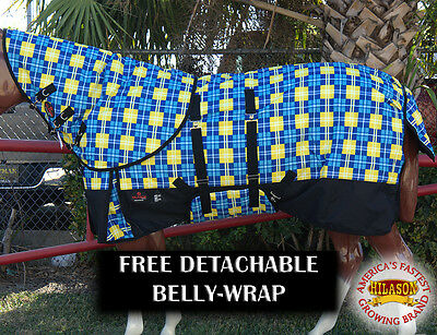 "81"" Hilason 1200D 400Gsm Winter Horse Blanket Neck Cover Belly Wrap Blue Yellow"