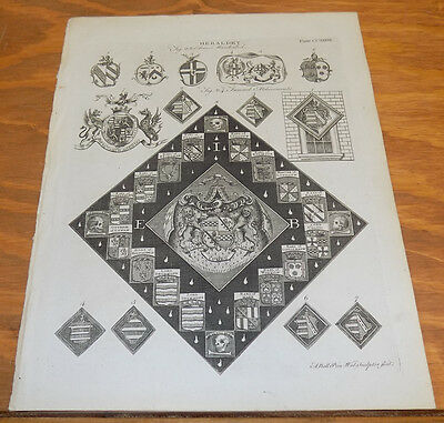 1797 Antique Print // HERALDRY // ARMS MARSHALLED, FUNERAL ATCHIVEMENTS