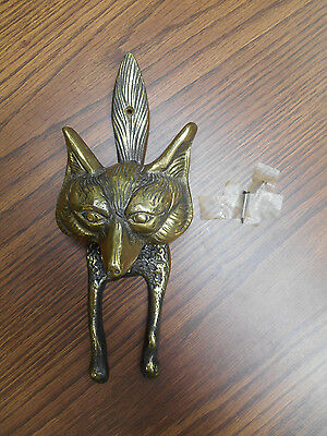 "Fox brass door knocker, vintage, antique, heavy, 10.5"", original patination   EH"