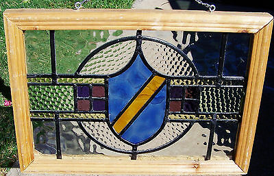19x13 Old Vtg Leaded Stained Textured Glass Window Antique Crest Shield Design