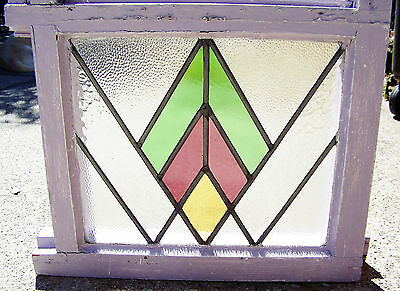 29x22 Old Vtg W or M Deco Mission Leaded Stained Glass Box Window Antique Frame
