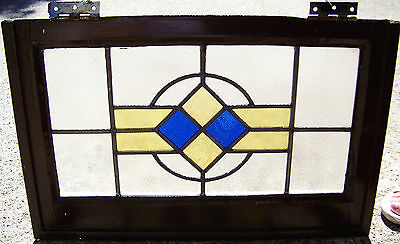 24x15 Old Vtg Art Deco MISSION Leaded Stained Glass Window Antique Molded Frame