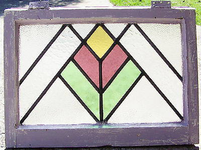 24x18 Old Vtg W or M Deco Mission Leaded Stained Glass Window Antique Frame