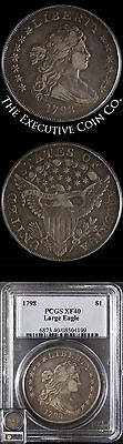 1798 Bust Dollar Large Eagle PCGS XF40 Great Eye Appeal Nice Strike