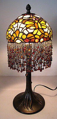 """21"""" Vtg Tiffany Style Table Lamp Multi-Color Stained Glass Beaded Tree Trunk"""