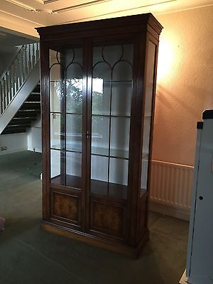 Reproduction Bevan Funnell Burr Walnut Glazed Display Cabinet