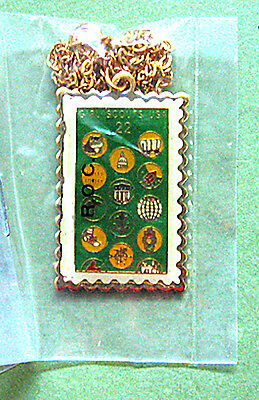 1987 CHARM NECKLACE PENDANT Stamp Replica 75th Girl Scout Anniver Christmas GIFT