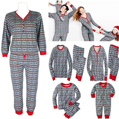 Family Women Baby Kids Matching Christmas Pajamas Set Gray Sleepwear Nightwear