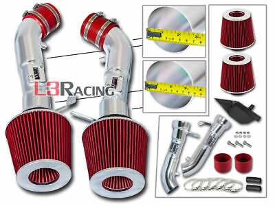 Cold Heat Shield Air Intake Kit + RED Filter For Infiniti 08-13 G37 3.7L V6
