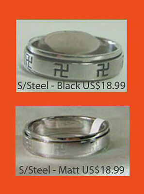 Buddhist Swastika Wan Zi Stainless-steel Spin-ring