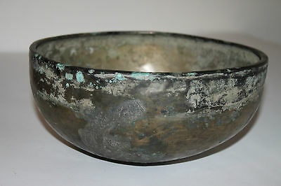 LARGE ANCIENT ROMAN BRONZE SILVERED DISH 1/2nd CENTURY AD