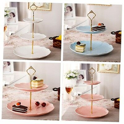 3 Tier Hardware Crown Cake Plate Stand Handle Fitting Wedding Party Gold LKAN