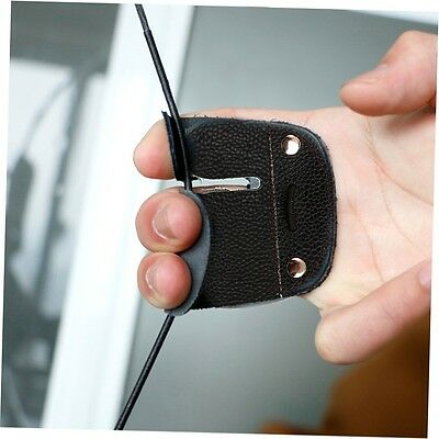 Cow Leather Archery Finger Guard Protection Pad Glove Tab Bow Shooting LKAN