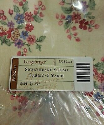 NIP Longaberger 5 yards of UNCUT Sweetheart Floral Fabric ~ Made in the USA