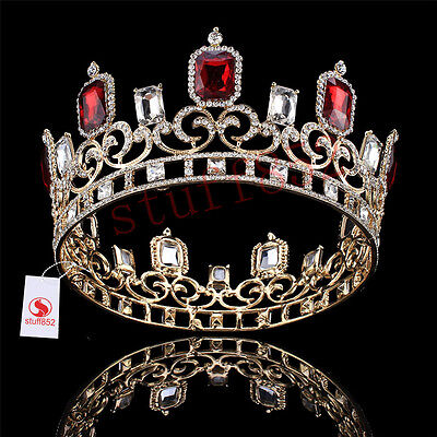 Baroque Crystal Queen Crown Tiara Silver King Ruby Circle Pageant Prom