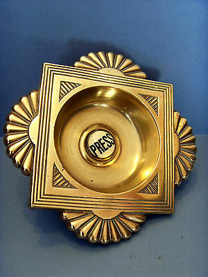 Large Early Edwardian Antique Brass Push Door Bell With An Art Nouveau Influence