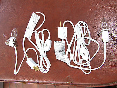 2 NEW Single Clip In Light For Christmas Village House 6 Foot WHITE Cord On/Off