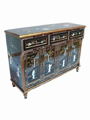 Black Lacquered with Mother of Pearl Rectangular Sideboard Oriental Furniture