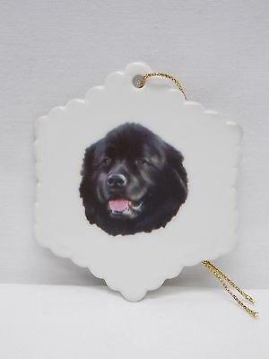 Newfoundland Dog Porcelain Snowflake  Christmas Tree Ornament Fired Decal-H