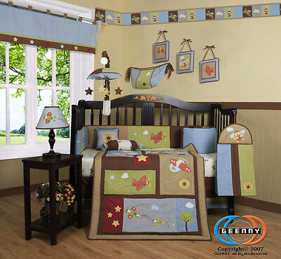 Baby Boutique Airplane Aviator Boy Nursery 13PCS CRIB BEDDING SET