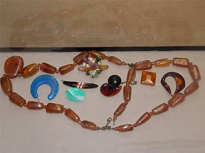 Vintage Lot  8 Pieces Colorful Rare Plastic Jewelry Accessories mixed Bakelite?