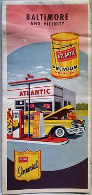 Atlantic Refining Baltimore Maryland & Vicinity City Street Road Map 1959