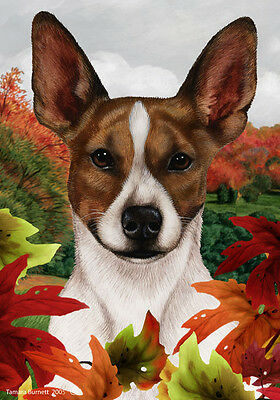 Large Indoor/Outdoor Fall Flag - Brown Rat Terrier 13130