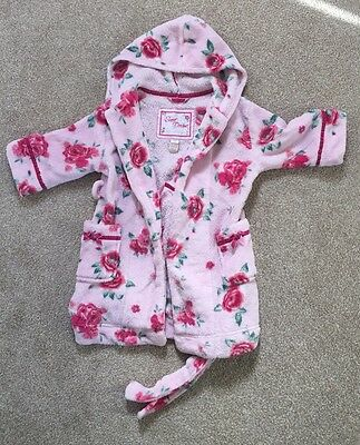 Monsoon Girls Pink Hooded Bath Robe Gown 2-4 years Fleece Soft