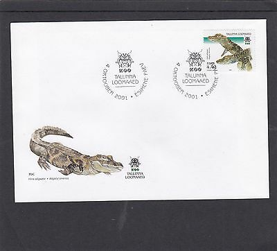 Estonia 2001 Tallin Zoo Crocadile First Day Cover FDC Tallin special h/s