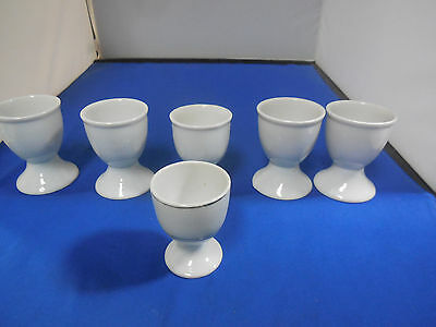Lot of 6 White Porcelain Egg Cups 4 Match, 1 Smaller, 1 Marked Occupied Japan