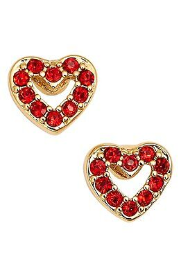 Kate Spade New York Love List Open Heart Stud Bridal Earrings Red Crystals Nwt