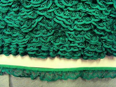 Gathered  Emerald Green  Lace 5 metres  (133)