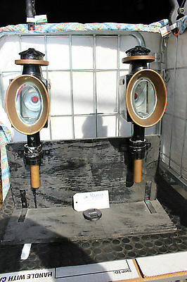 37-30 Pair original post mount horse drawn candle English style carriage lamps