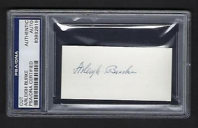 Arleigh Burke signed calling card PSA Authenticated