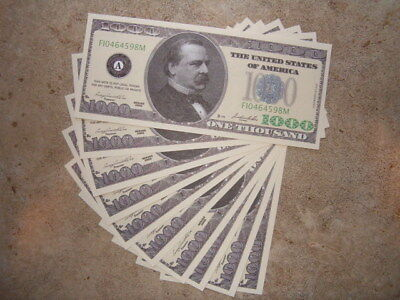 1000 Dollar Novelty Notes Lot Of (10) Brand New Great Gift Idea For Everyone !!!