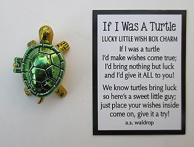 e green IF I WAS A TURTLE Lucky Little Wish Box Charm good luck ganz figurine