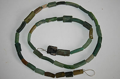 ROMAN RESTRUNG GREEN GLASS NECKLACE 1/2nd CENTURY AD