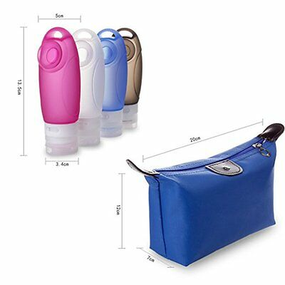 Silicone Leak Proof Travel Refillable Bottle Set Toiletry Container Carry On Bag