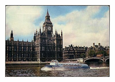 Hoverbus Denny D.2002 On Thames Passing The Houses Parliament London Posted 1964