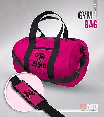PIMD Personal Gym Bag - Pink/ Black - MENS GYM SPORT HOLDALL DUFFLE WOMEN NEW
