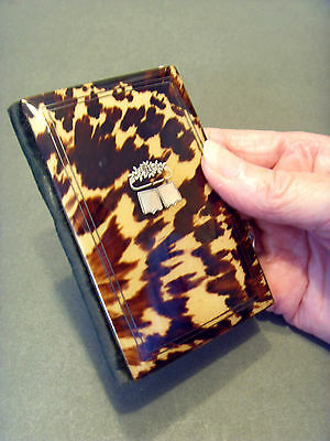 """LATE 19thC FRENCH FAUX TORTOISE SHELL /SILVER """"AIDE MEMOIRE CARD CASE"""" c 1880."""