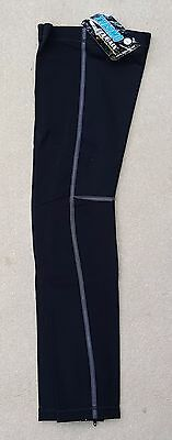 3S SPORTS Cycling Mens Leg Warmers Black Polyester Blend Zipped Size Large
