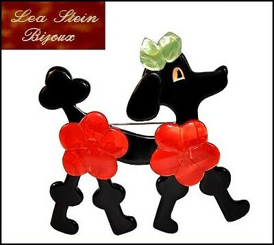 French Lea Stein Paris Poodle Dog Pin Brooch --Black Red Green
